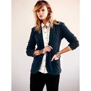 Free People Houndstooth Knit Slouchy Jacket Blazer
